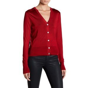 DKNY red viscose v-neck cardigan sweater